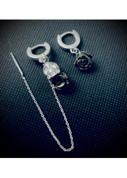 Boucles d'Oreilles SKULL AND ROSE