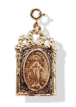 Médaille BAROQUE Or Anthracite Paillette