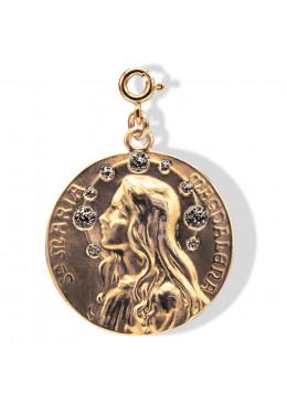 médaille «Maria-Magdalena» doré Anthracite Paillette